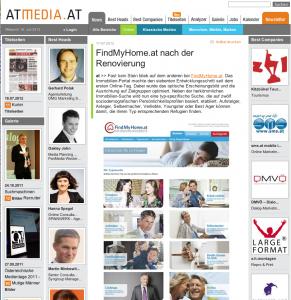 Artkel über FindMyHome.at auf AtMedia am 17.07.2012