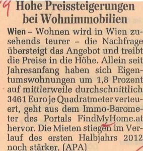 FindMyHome.at Immo-Barometer im DerStandard_Print_03-07-2012