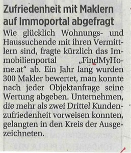 FindMyHome.at Presseartikel aus Die Presse, 09.06.2012