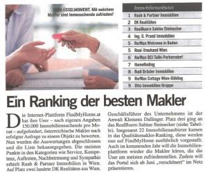FindMyHome.at Pressemeldung im Format, Juni 2012