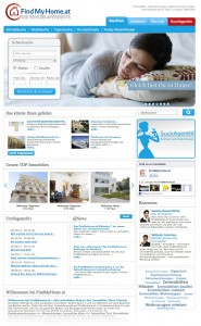 Screenshot FindMyHome.at Startseite Redesign 2012