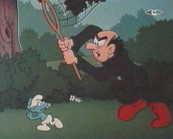 Gargamel jagt einen Schlumpf