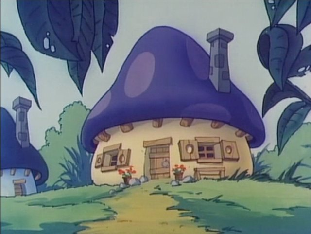 Typisches Schlumpf-Haus in Pilzform