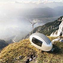 Ecocapsule Wohnheit selbstversorgend Berg