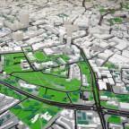 Modell einer Stadt und ihrer Infrastruktur