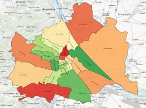Grafik-Illustration: Wachsende & schrumpfende Bezirke in Wien