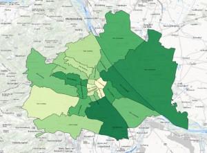 Grafik-Illustration: Bezirke in Wien mit stärkstem Zuzug