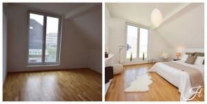 Home Staging Beispiel für ein Schlafzimmer