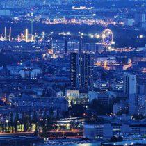 Blick auf Wien bei Nacht