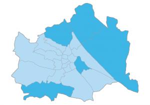 Grafik mit den Wiener Bezirken mit den meisten angebotenen Immobilien