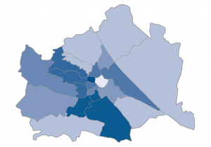 Grafik: Die meisten Anfragen pro angebotener Immobilie pro Bezirk