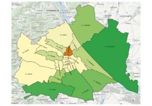 Grafik: Wachsende und schrumpfende Bezirke in Wien