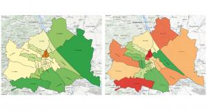Grafik: Immobilien-Vergleich zum Vorjahr welche Bezirke in Wien wachsen oder schrumpfen