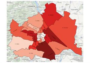 Grafik: Wohnbezirke in Wien mit stärkster Abwanderung