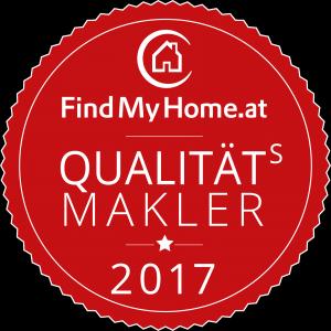 Das Qualitätsmakler-Siegel von FindMyHome.at für das Jahr 2017