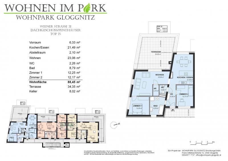 PENTHOUSE - Wohnen im Grünen (Neubau) mit großer Terrasse  Top 15 - im sofortigen Eigentum /  / 2640Gloggnitz / Bild 6