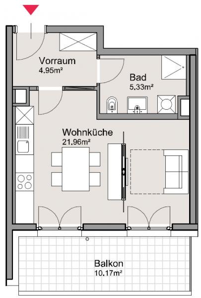 1,5-Zimmer-DG-Wohnung, BS3 Top 33 in Pixendorf mit idealer öffentlicher Anbindung, Wohnpark Tullnerfeld /  / 3441Pixendorf / Bild 3
